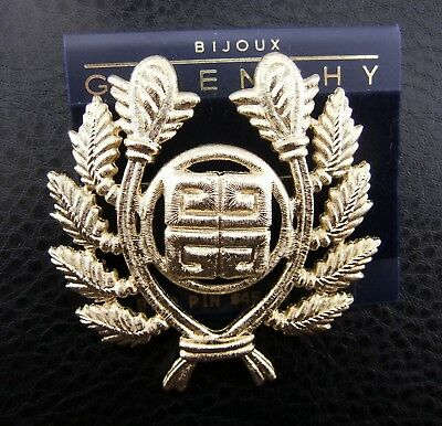 Bijoux Givenchy Logo Wreath Crest Textured Chunky Cast Pin Carted NOS NWT