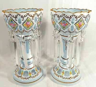 Pair Vintage Ice Blue Glass Cut to Clear Bohemian Mantle LUSTER Floral  Lustres