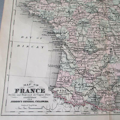 Antique c1896 MAP of FRANCE Color Copper Plate ENGRAVING * Johnson's Universal