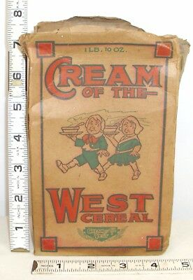 CREAM OF WHEAT ORIGINAL CEREAL BOX 1920s BOY & GIRL ON THE FRONT WEST CEREAL CO.