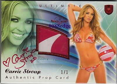 2010 Benchwarmer Ultimate Prop Auto: Carrie Stroup #1/1 Of Swatch Red Autograph
