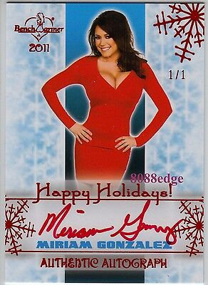 2011 Benchwarmer Holiday Auto: Miriam Gonzalez #1/1 Of Red Autograph Playmate