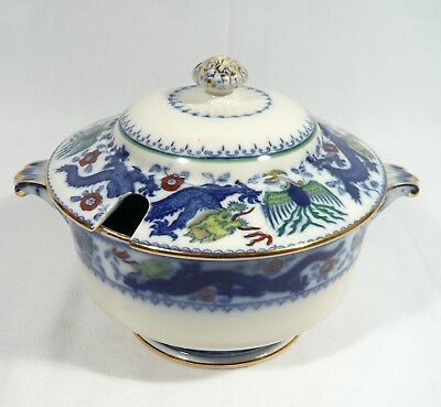 Antique Minton CHINESE DRAGON & BIRD Covered Sauce Tureen Bowl
