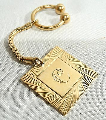 """Solid 9ct GOLD  SCREWBALL KEY RING Chain 9k .375 w/ Initial """" C """" Fob 15.2 g."""