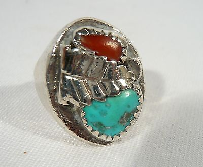 Old Pawn  Large Sterling Silver NAVAJO Men's RING Leaf Turquoise & Coral 18 gr