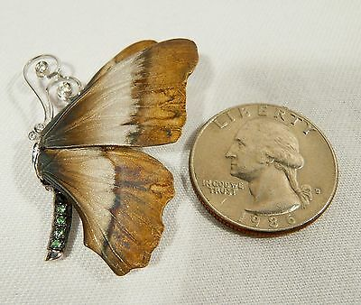 "Sterling BEAUTIFUL BUTTERFLY 1 7/8""  BROOCH  Realistic Style Wings 7.4 Grams"