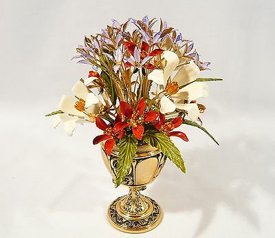 """"""" The Imperial Russian Bouquet """" Franklin Mint  Faberge 24K Gold Plate Flowers"""