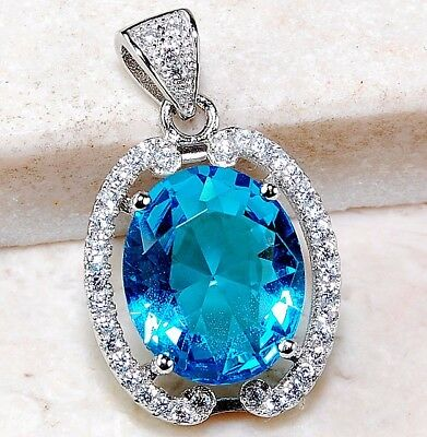 4CT Swiss Blue Topaz & White Topaz 925 Solid Sterling Silver Pendant Jewelry