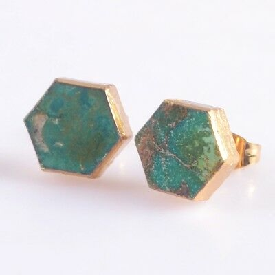 10mm Hexagon Natural Genuine Turquoise Stud Earrings Gold Plated H104175