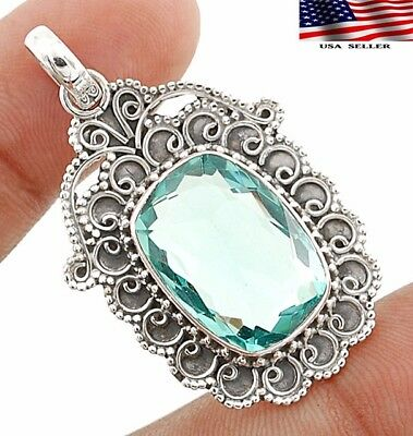 """14CT Aquamarine 925 Solid Sterling Silver Detailed Design Pendant Jewelry 1 3/4"""""""