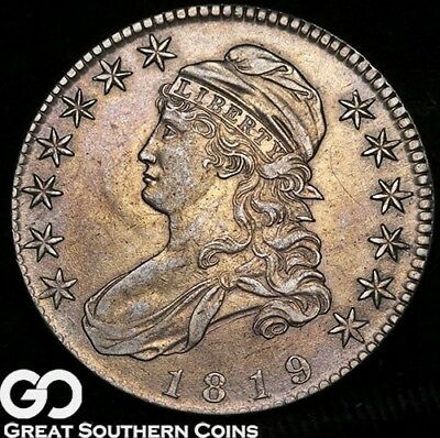1819 Capped Bust Half Dollar, Sharp AU+++, Tough This Nice ** Free Shipping!