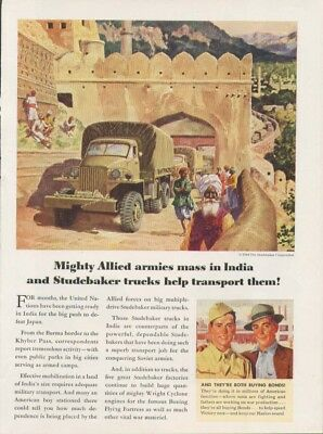Mighty Aliied armies in India Studebaker truck ad 1944