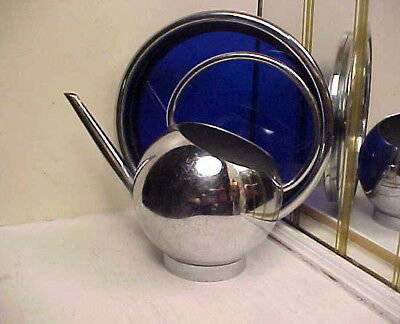 Art Deco 1930's Modernistic Chase Chrome Ball Pitcher & Cobalt Blue Glass Tray