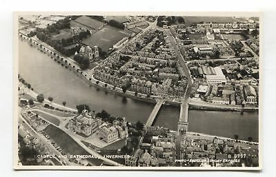 Inverness - aerial view, city, Castle & Cathedral - 1950's real photo postcard