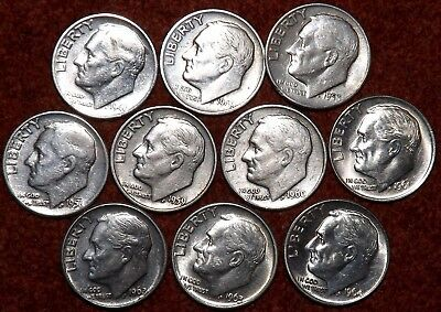 USA Roosevelt .900 Silver Dimes  X 10 - ALL DIFFERENT DATES -- Listed