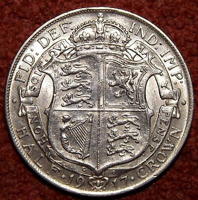 1917 George V .925 Silver Half Crown -- HIGHLY Collectible Grade & Detail