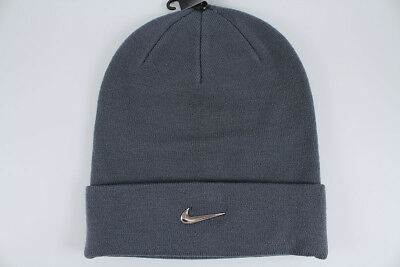 NIKE JEWEL SWOOSH Beanie Gray metallic Silver Cuff Hat Cap Winter Adult Men  New -  24.99  9ca58c4d21f5