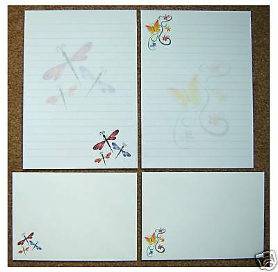 Butterfly & Dragonfly Letter Writing Paper Stationery Set