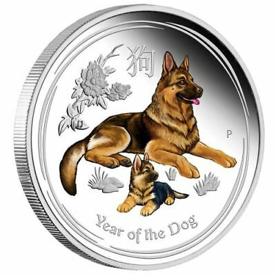 1oz Australien Lunar II Hund Dog Color Silber 1$  PP proof 2018 with Box and CoA