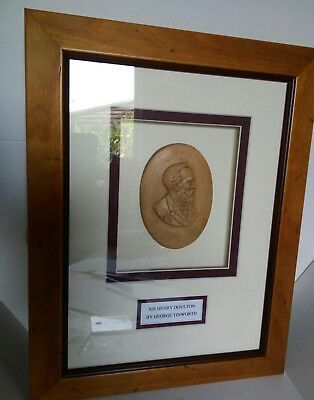 Super Rare George Tinworth framed bust of Sir Henry Doulton, museum piece!
