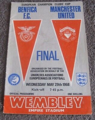 BENFICIA F.C. V MANCHESTER UNITED.  FINAL  WEMBLEY MAY 29th 1968