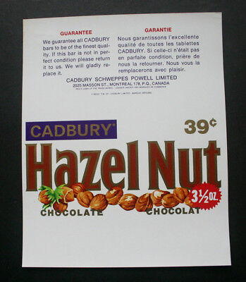 HAZEL NUT 39c - 1970's CADBURY CANADA Chocolate Candy Bar Wrapper