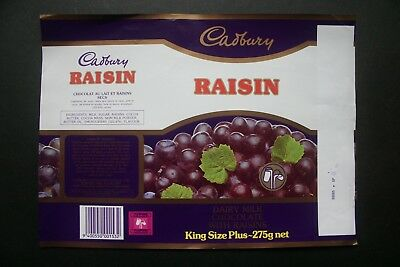 RAISIN KING SIZE 275g - 1980's CADBURY NEW ZEALAND Chocolate Candy Bar Wrapper