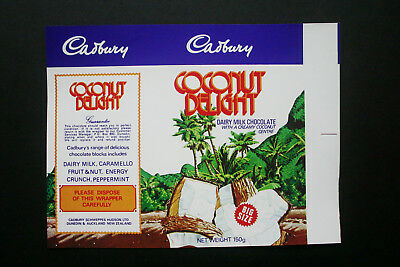COCONUT DELIGHT 150g - 1970's CADBURY NEW ZEALAND Chocolate Candy Bar Wrapper