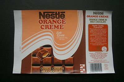 NETLE ORANGE CREME - 1980's NESTLE NEW ZEALAND Chocolate Candy Bar Wrapper