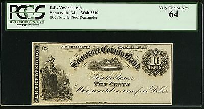 Somerset County Bank, 10¢ Nov 1 1862 Remainder PCGS Very Choice New 64