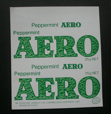 PEPPERMINT AERO 25g - 1970's ROWNTREE AUSTRALIA Chocolate Candy Bar Wrapper