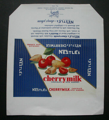 NESTLE CHERRY MILK - 1960's NESTLE AUSTRALIA Chocolate Candy Bar Wrapper