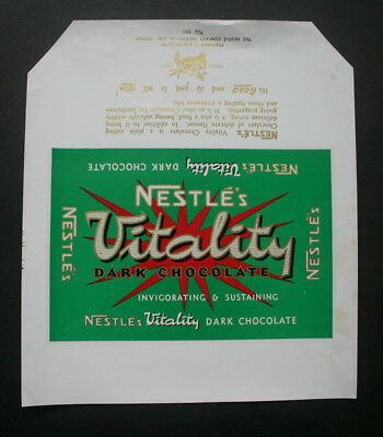 NESTLE VITALITY DARK - 1960's NESTLE AUSTRALIA Chocolate Candy Bar Wrapper