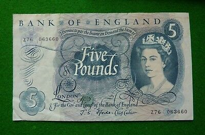 1966-1970  J S Fforde  Five Pound Note - Z76 063660 - A/fine