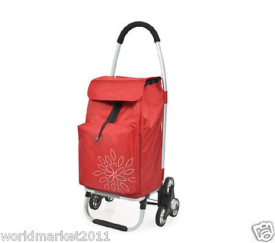 New Convenient Red Pattern Six-Tire Collapsible Shopping Luggage Trolleys