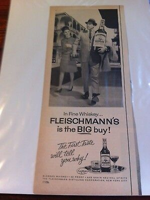 Vintage 1963 Fleischmann's Whiskey The BIG Buy Man Walking With Giant Bottle ad