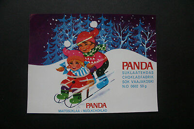 CHRISTMAS BAR - 1960's PANDA FINLAND Chocolate Candy Bar Wrapper
