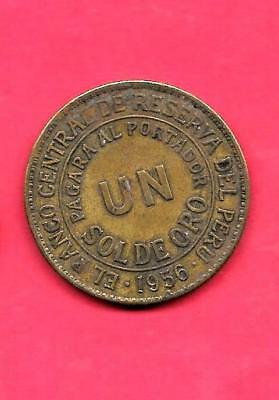 PERU KM222 1956 vf-VERY fine-NICE OLD VINTAGE CIRCULATED LARGE-HUGE SOL COIN