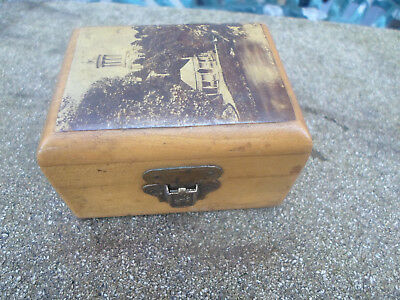 Antique Mauchline Ware  Burns Monument Small Box , Alloway Kirk, Banks Of Doon