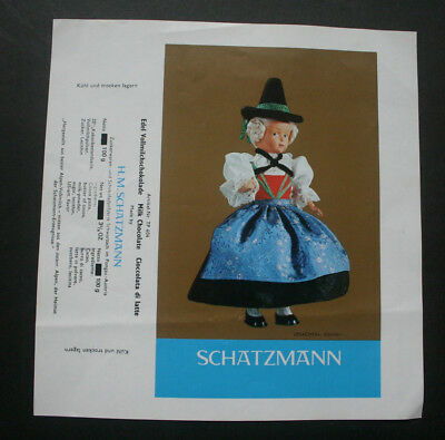 NATIONAL COSTUME - 1970's SCHATZMANN AUSTRIA Chocolate Candy Bar Wrapper