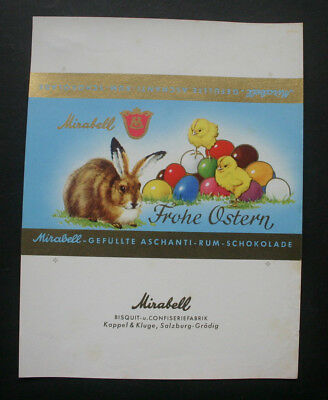 FROHE OSTERN - 1960's MIRABELL AUSTRIA Chocolate Candy Bar Wrapper