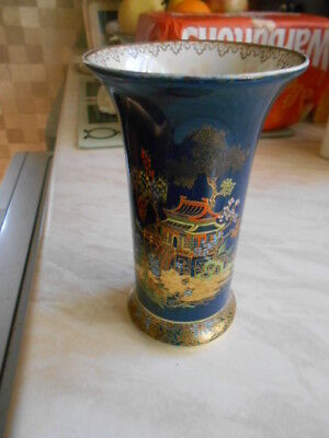 carlton ware blue lustre with pagoda pattern vase (has hairline)