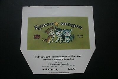 KATZEN ZUNGEN - 1960's TSW GERMANY Chocolate Candy Bar Wrapper