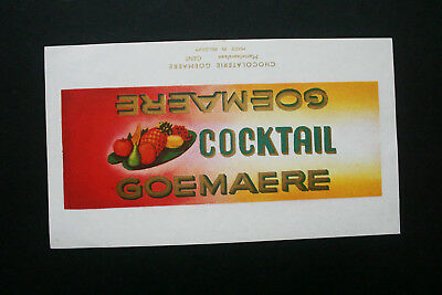 COCKTAIL - 1950's GOEMAERE BELGIUM Chocolate Candy Bar Wrapper
