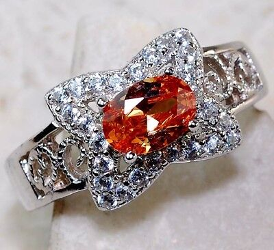 2CT Padparadscha Sapphire & White Topaz 925 Solid Sterling Silver Ring Sz 8