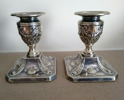 Pair of Antique/ Vintage Silver Plated Candlesticks Decorative Ribbons & Scrolls
