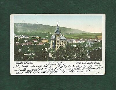 Austria 1901 old used colour post card of Teplitz-Schonau posted to Brunn