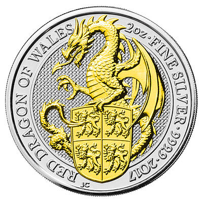 2 OZ Silber Großbritannien 2017 The Queen´s Beasts Red Dragon of Wales gilded