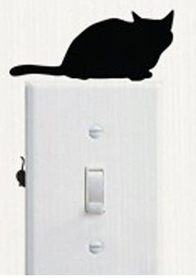 Black Cat And Mouse Shaped Light Switch Wall Decal Two Part Sticker H