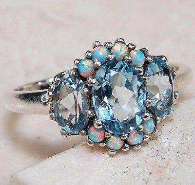 2CT Natural Aquamarine & Opal 925 Solid Sterling Silver Filigree Ring Sz 8